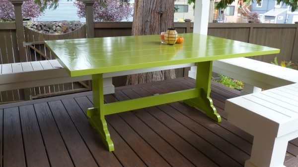 Green Enamel Outdoor Trestle Table