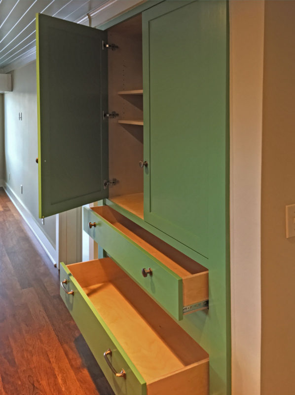 Pantry Cabinet With Open Doors & Drawers
